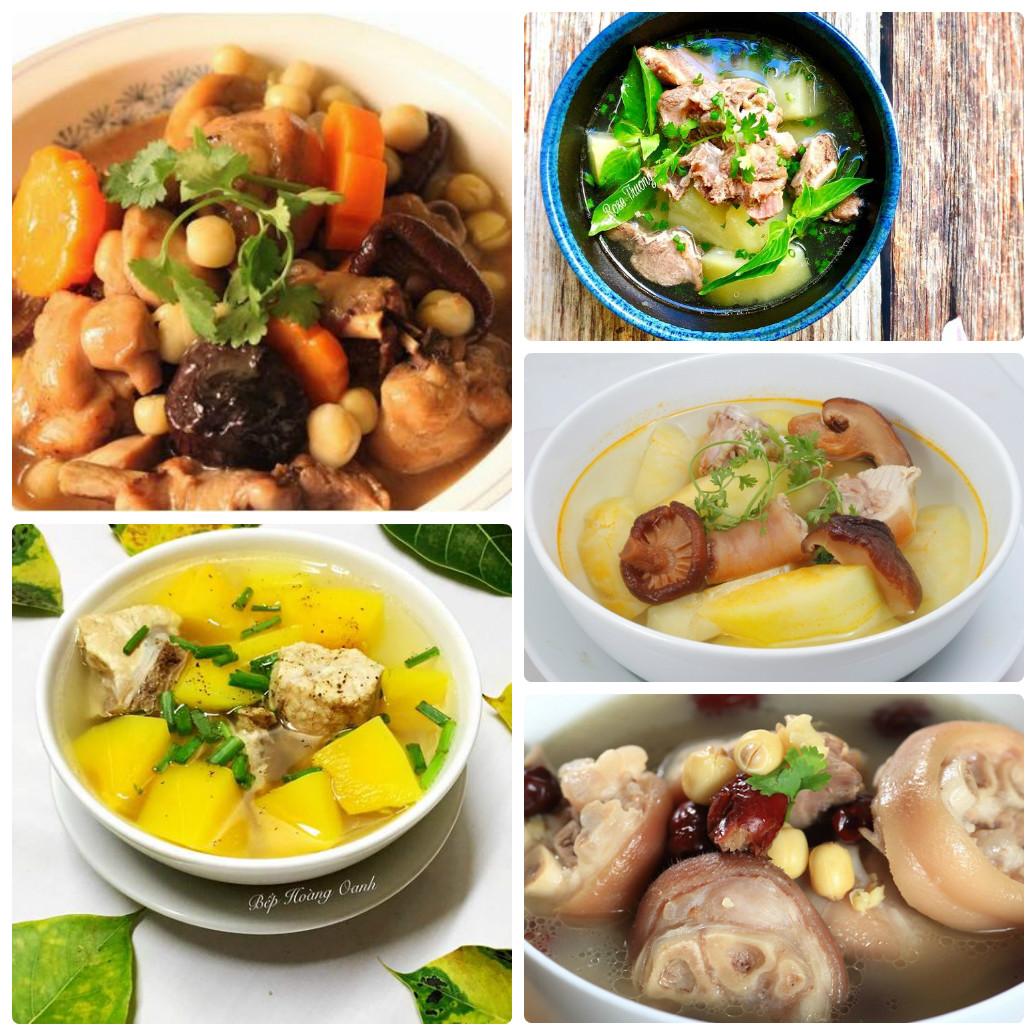 Các món ăn từ đu đủ xanh và chân giò hầm cũng rất bổ dưỡng