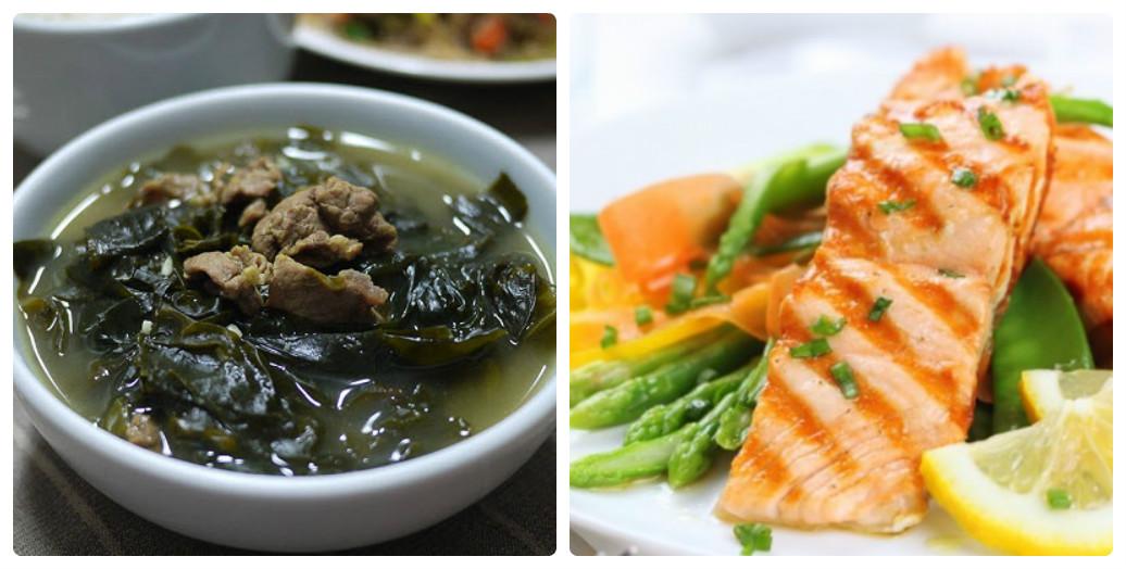 Canh rong biển thịt bò và cá hồi măng tây siêu ngon