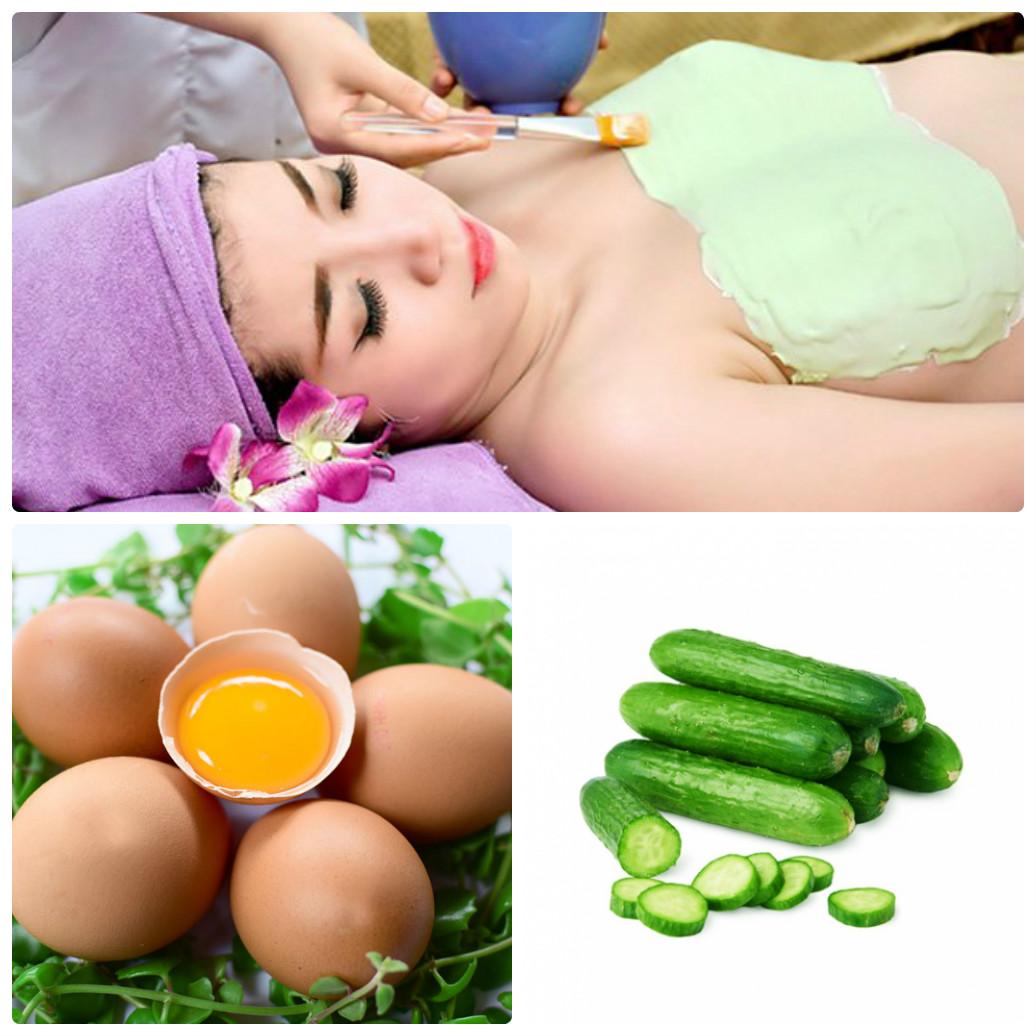 Đắp mặt nạ dưa chuột, trứng gà để nâng ngực tự nhiên
