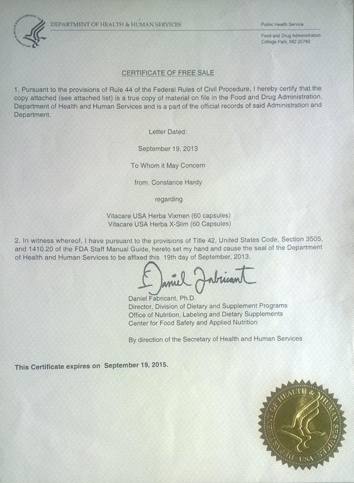 Giấy Phép của VixMen được cấp phép ở Hoa Kỳ
