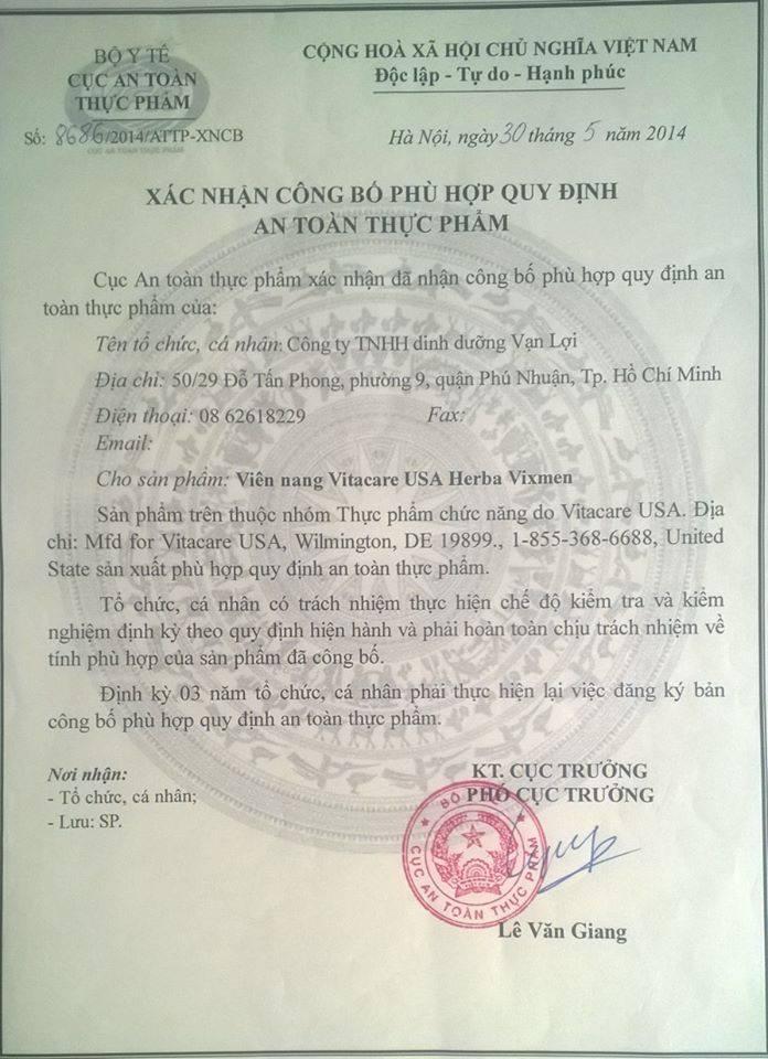 Giấy Phép của VixMen được cấp phép ở Việt Nam