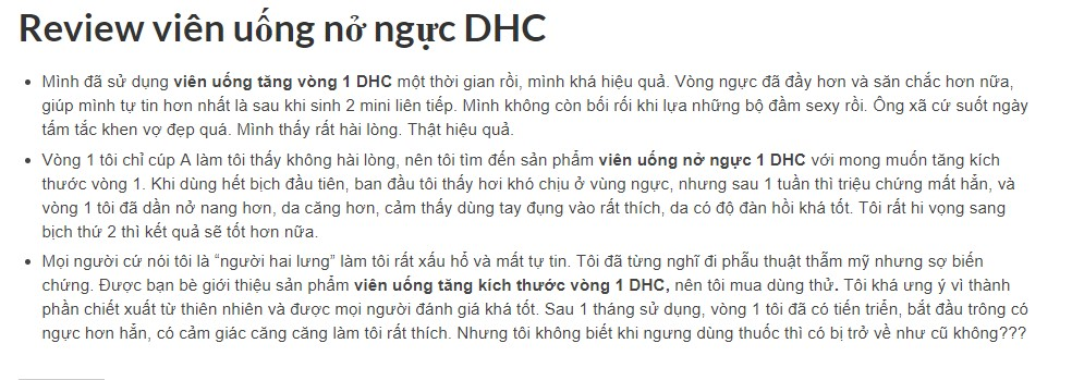 Nhận xét của khách hàng về hiệu quả thuốc nở ngực DHC