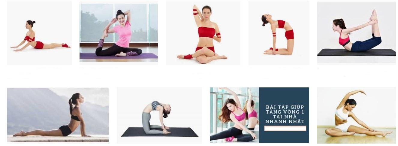 Nhiều chị em đang áp dụng tập yoga để tăng vòng 1