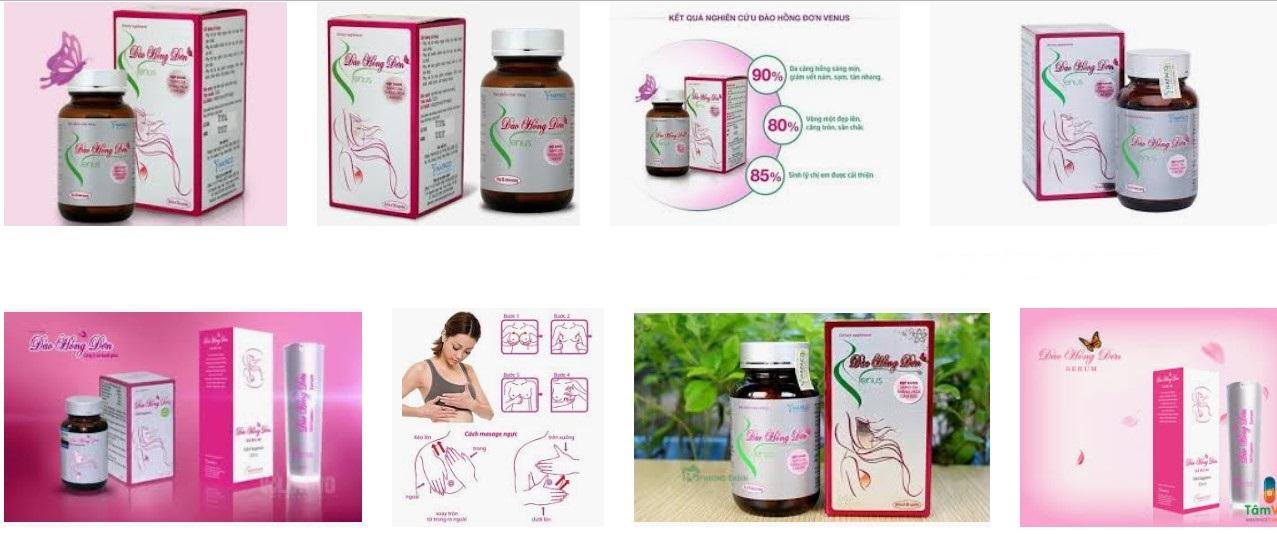 Thuốc nâng ngực Đào Hồng Đơn có dạng viên uống và dạng serum