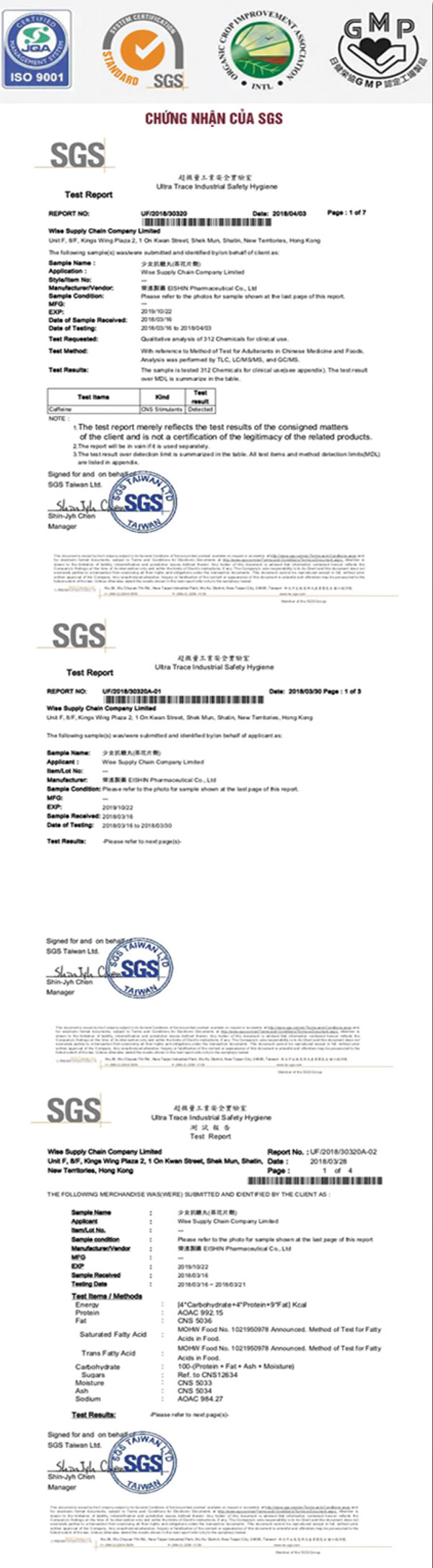 Sản phẩm được hiệp hội OCIA và các tổ chức an toàn dược phẩm chứng nhận