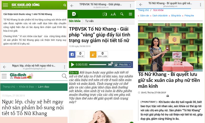 Báo chí nói về sản phẩm Tố Nữ Khang