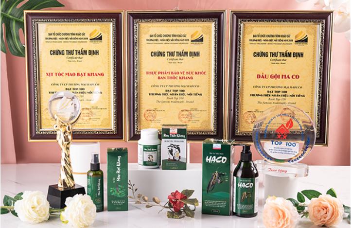 Sản phẩm tóc Haco đạt top 100 thương hiệu nổi tiếng