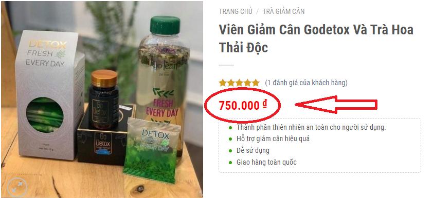 Giá của sản phẩm giảm cân Go Detox và Detox fresh everyday