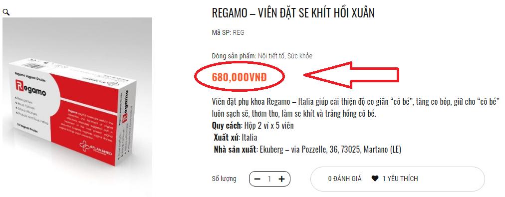 Giá bán của sản phẩm Regamo