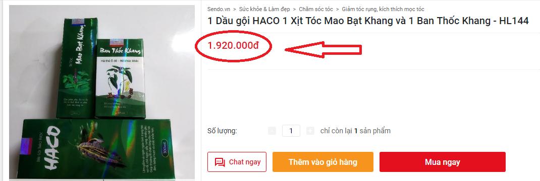 Giá của bộ 3 sản phẩm tóc Haco
