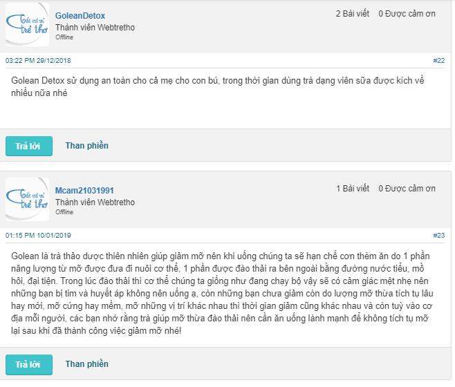 Người dùng đánh giá giảm cân Godetox trên webtretho