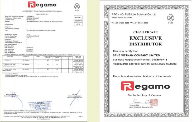Chứng nhận Regamo an toàn ở mức 5 sao