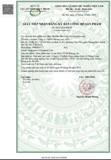 Giấy phép của sản phẩm Tố Nữ Khang