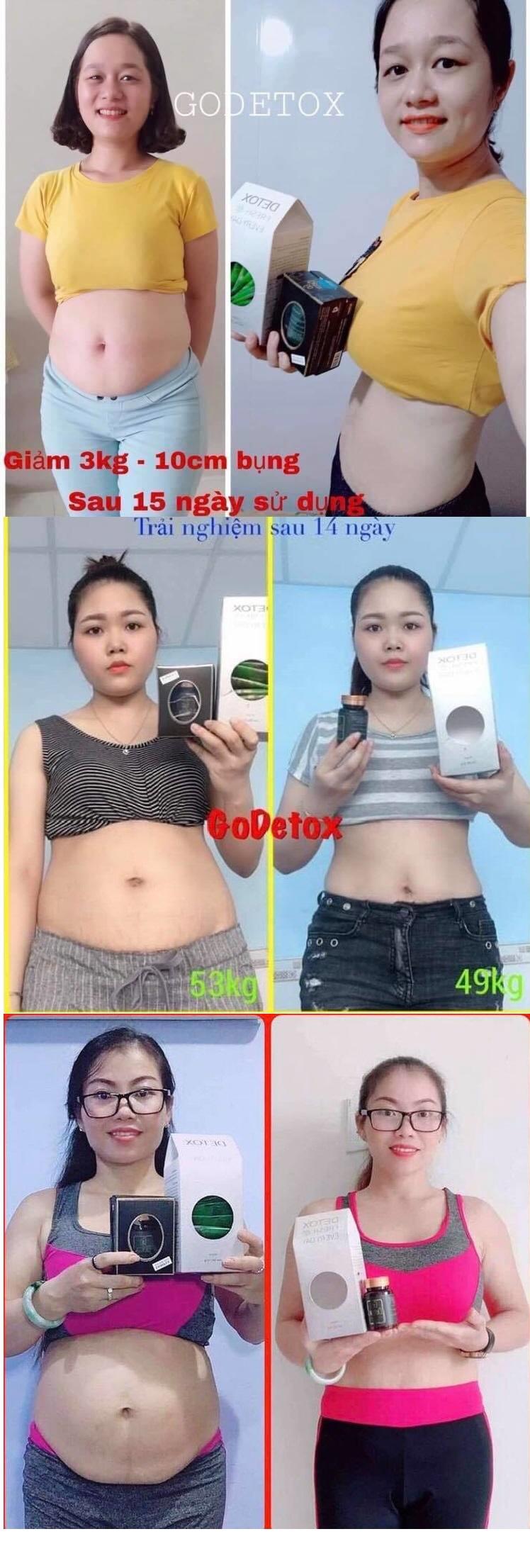Khách hàng trước và sau khi dùng sản phẩm giảm cân Go Detox và Detox fresh everyday