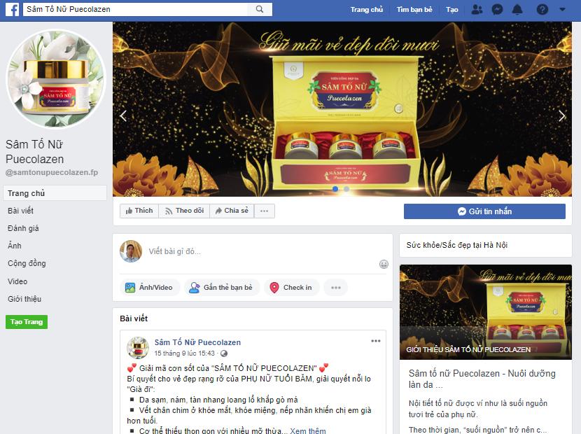 Sâm tố nữ collagen bán trên facebook