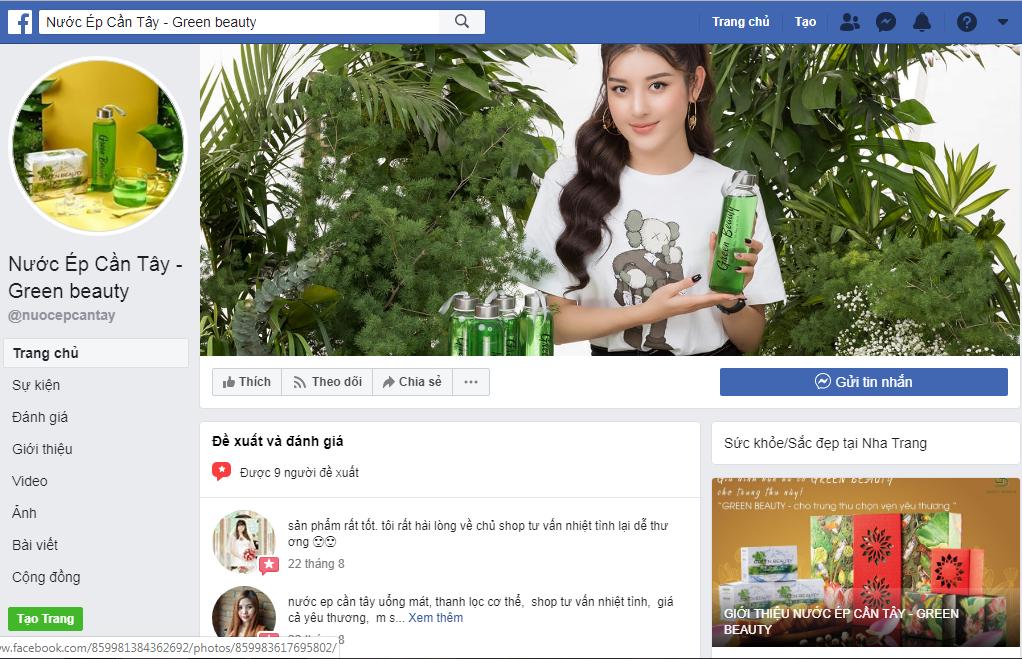 Sản phẩm nước ép cần tây green beauty bán trên facebook