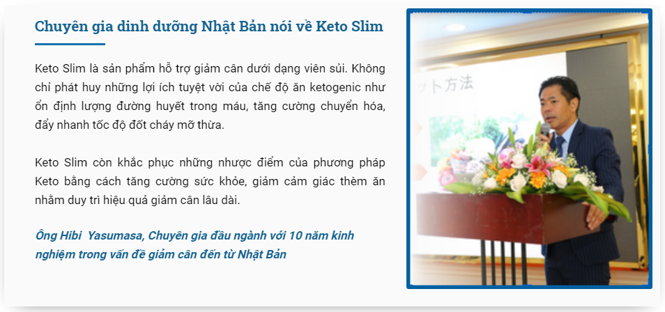 Chuyên gia nói về sản phẩm Keto Slim