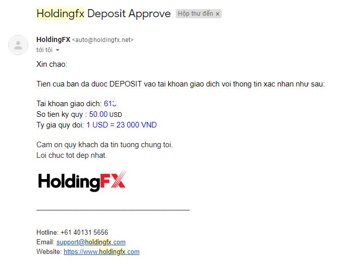 Nội dung gmail báo về khi nạp tiền forex sàn holdingfx
