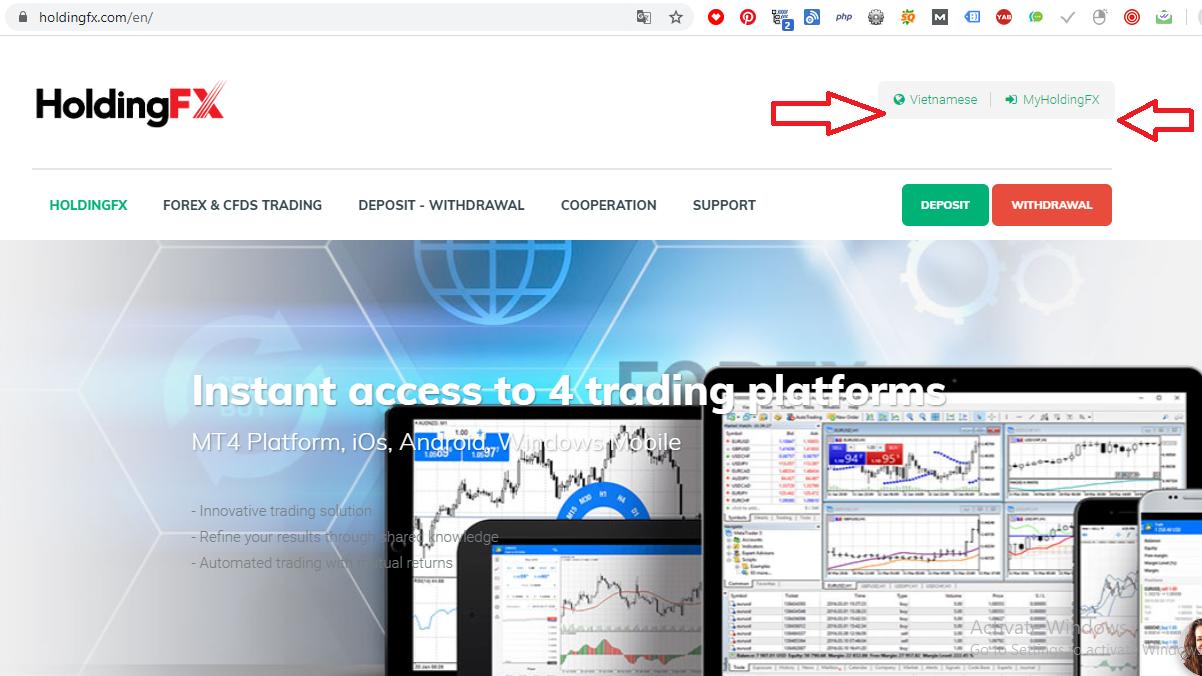 Đăng nhập vào tài khoản holdingfx