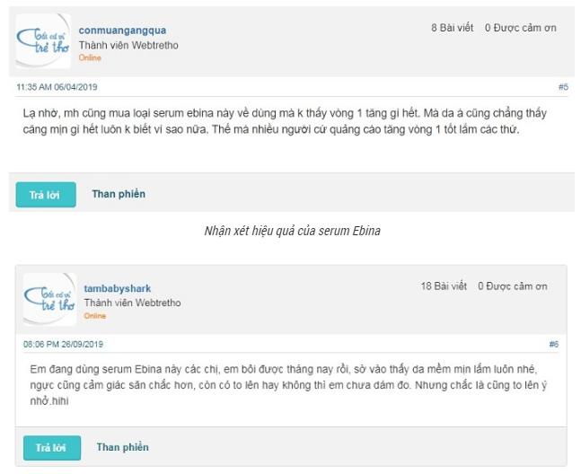 Serum Ebina trên webtretho